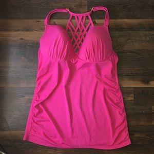 c7970a6d39 Cacique Swim - Swim by Cacique Pink strappy tankini Top 40DD